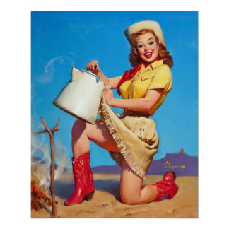 Cowgirl with Coffee Pin Up Poster