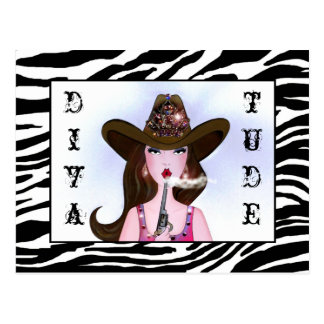 """Cowgirl with """"DIVAtude"""" Postcard"""