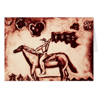 Cowgirl with Flower Flag Card