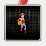 Cowgirl with Guitar; Black Ornament