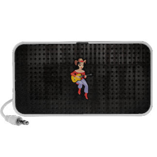 Cowgirl with Guitar; Black Portable Speakers