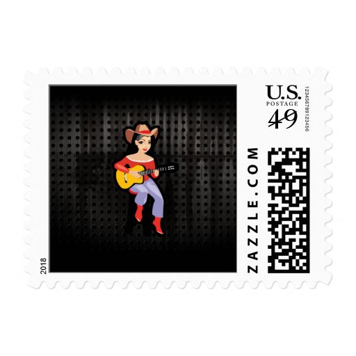 Cowgirl with Guitar; Black Stamp