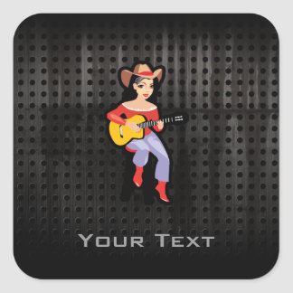 Cowgirl with Guitar; Black Square Stickers