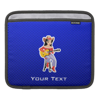 Cowgirl with Guitar; Blue iPad Sleeve