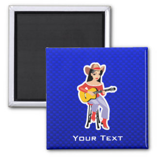 Cowgirl with Guitar Blue Fridge Magnets