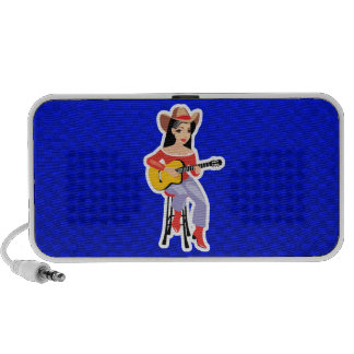 Cowgirl with Guitar; Blue Portable Speakers