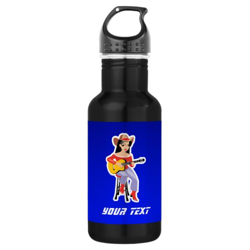 Cowgirl with Guitar Blue Stainless Steel Water Bottle