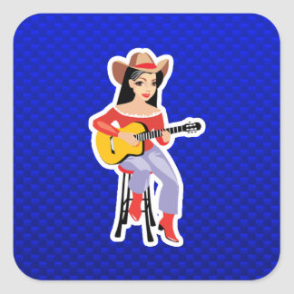 Cowgirl with Guitar; Blue Square Stickers