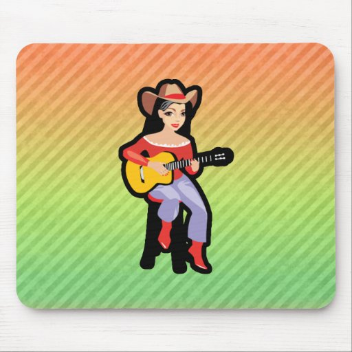 Cowgirl with Guitar; Colorful Mouse Pads