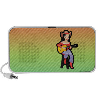 Cowgirl with Guitar; Colorful Laptop Speaker