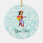 Cowgirl with Guitar; Cute Christmas Tree Ornaments