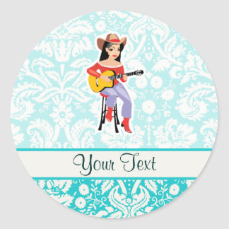 Cowgirl with Guitar; Cute Round Stickers