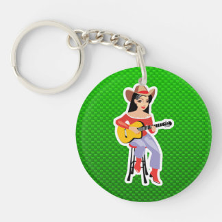 Cowgirl with Guitar; Green Double-Sided Round Acrylic Keychain