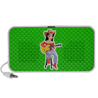 Cowgirl with Guitar; Green iPhone Speakers