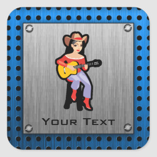 Cowgirl with Guitar Square Stickers