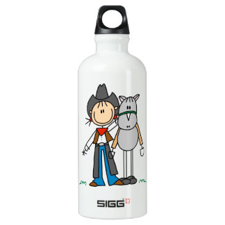 Cowgirl With Horse T-shirts and Aluminum Water Bottle