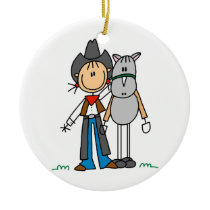Cowgirl With Horse T-shirts and Gifts Ceramic Ornament