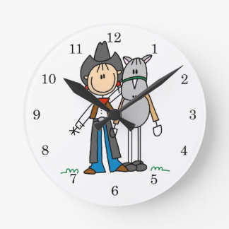 Cowgirl With Horse T-shirts and Gifts Round Wall Clock