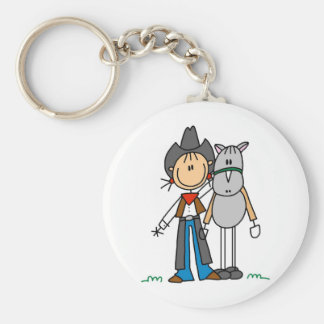 Cowgirl With Horse T-shirts and Gifts Basic Round Button Keychain