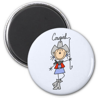 Cowgirl with Lasso Tshirts and Gifts 2 Inch Round Magnet