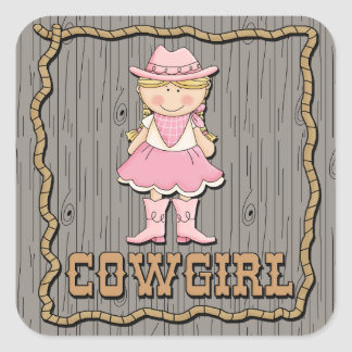 Cowgirl With Pink Boots Square Sticker