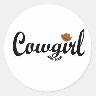 cowgirl yeehaw classic round sticker