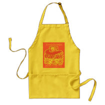 Cowgirl! Yellow and Pink Half-Tone print Adult Apron