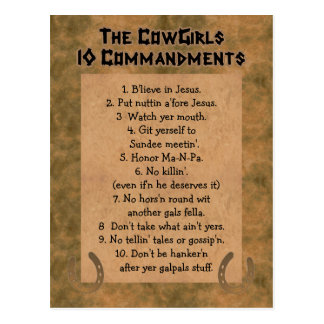 Cowgirls 10 Commandments POSTCARD