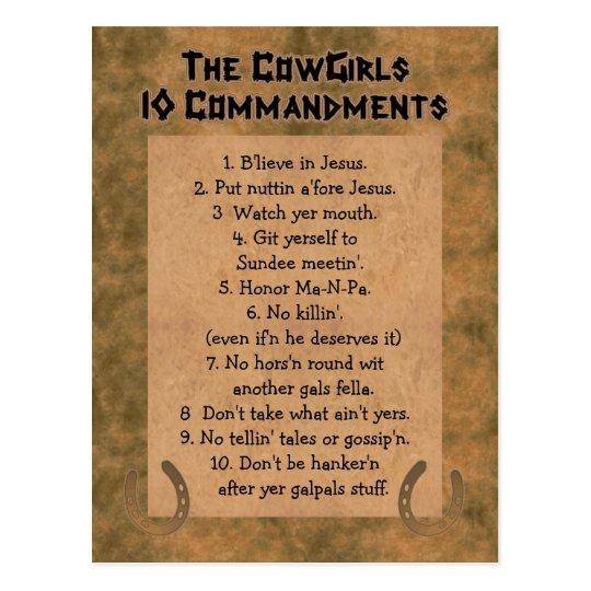 Cowgirls 10 Commandments POSTCARD