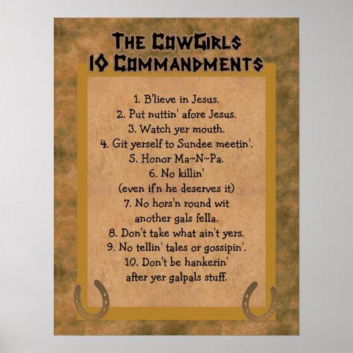 Cowgirls 10 Commandments POSTER Print
