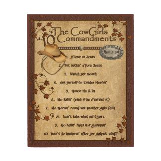 Cowgirls 10 Commandments Wood Wall Art