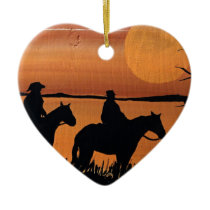 Cowgirls and horses ceramic ornament