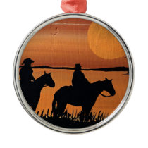 Cowgirls and horses metal ornament