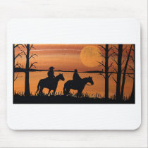 Cowgirls and horses mouse pad