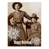 Cowgirls and Snowflakes Holiday Wishes Postcard