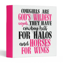 Cowgirls God Angels Pink Western Cute Horse 3 Ring Binder