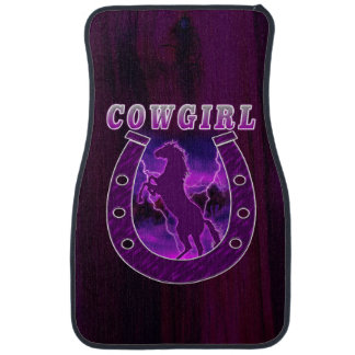 Cowgirls horse shoe and wild horses car floor mat