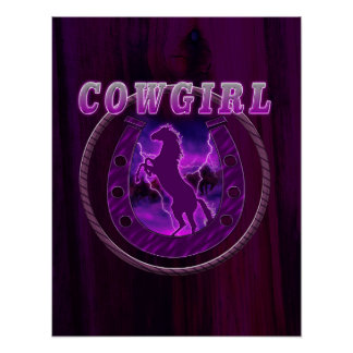 Cowgirls horse shoe and wild horses poster