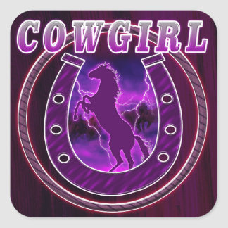 Cowgirls horse shoe and wild horses square sticker