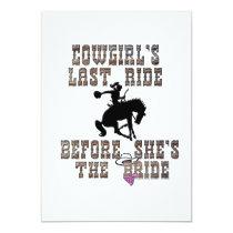 Cowgirl's Last Ride Before She's The Bride 5x7 Paper Invitation Card