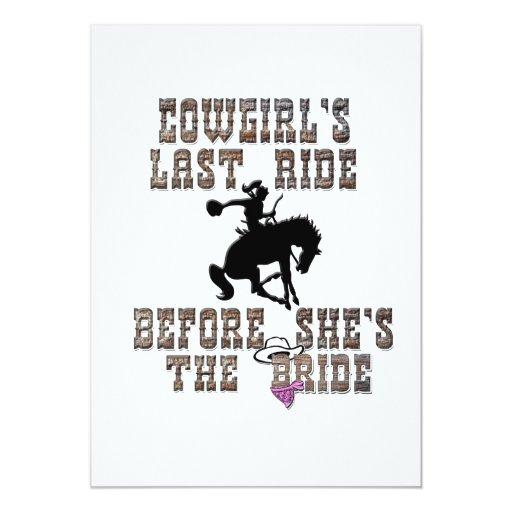 """Cowgirl's Last Ride Before She's The Bride 5"""" X 7"""" Invitation Card"""
