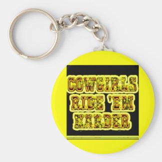 Cowgirls ride em basic round button keychain