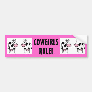 COWGIRLS RULE Funny Pink Cows Country Western 2 Bumper Sticker