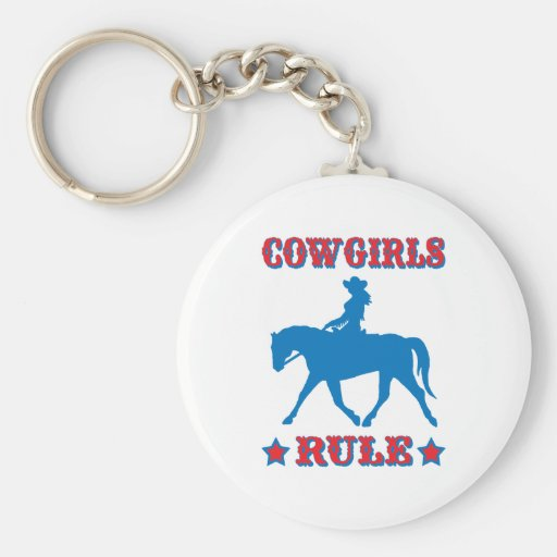 Cowgirls Rule (red/blue) Basic Round Button Keychain