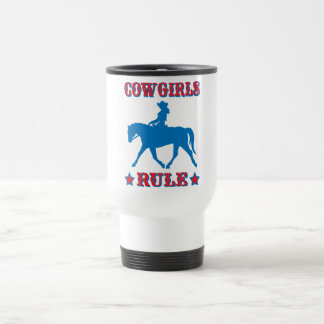 Cowgirls Rule (red/blue) 15 Oz Stainless Steel Travel Mug