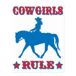 Cowgirls Rule red blue Postcards