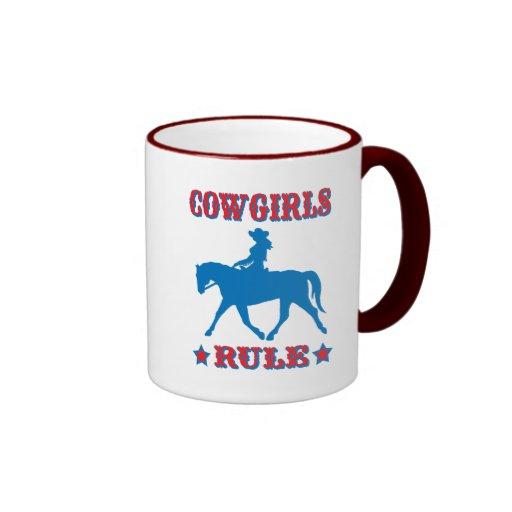 Cowgirls Rule (red/blue) Ringer Coffee Mug