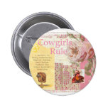 Cowgirls Rule Western Horse Cowboy Pink Collage Pins
