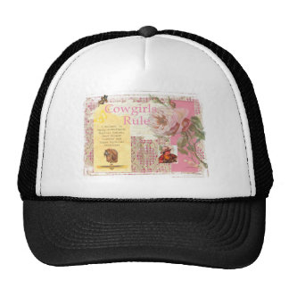 Cowgirls Rule Western Horse Cowboy Pink Collage Hats