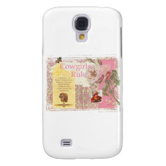 Cowgirls Rule Western Horse Cowboy Pink Collage Samsung S4 Case